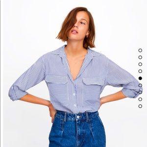 Zara Striped Pocket Blouse